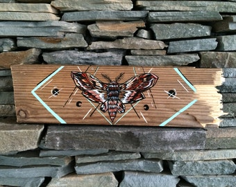 Handpainted Rustic Moth Home Decor Textile