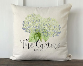 Farmhouse Spring Hydrangea Watercolor Personalized Pillow Cover, Mother's Day Gift, Wedding Gift, Anniversary Gift, Decorative Couch Pillow