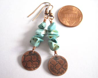 Rustic Copper Earrings, Turquoise and Copper Charms, Turquoise Earrings, Copper Anniversary Gift, Honeycomb Mesh Pattern