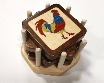 Rooster Coasters - Marquetry, set of 4 color variations with holder