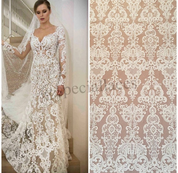 Wedding lace guipure lace fabric elegent embroiery lace fabric