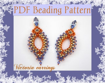 DIY Photo Tutorial Victoria earrings / PDF tutorial with detailed instructions and photos  / Cubic Right Angle Weave / RAW 3d