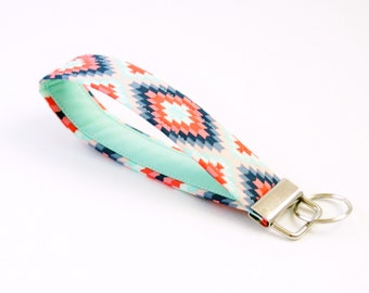 Aztec Fabric Keychain - Wristlet Fob - Navy, Coral and Mint Key Fob - Cute Key Chain - Short Key Ring - Key Lanyard - Bridesmaid Gift