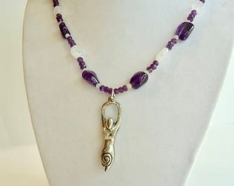 Amethyst Rainbow Moonstone Necklace and Goddess Pendant