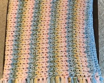Handmade V-Stitch Stripe Baby Afghan