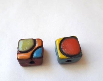 2 square geometric ceramic beads
