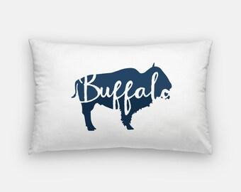 Buffalo pillow | blue buffalo pillow | Buffalo, NY | Buffalo, New York | Buffalo gift | New York pillow | hand lettering | Buffalo NY home
