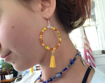 Yellow gold boho earrings