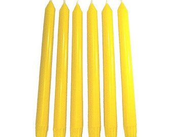 6 Summer Yellow Classic Hand-poured Unscented Taper Candles