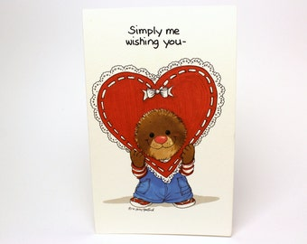 "Vintage 1991 Suzy's Zoo Greeting Card ""Simply me wishing you a Happy Valentine's Day!"" - Ollie Marmot - by Suzy Spafford - Printed in U.S.A."