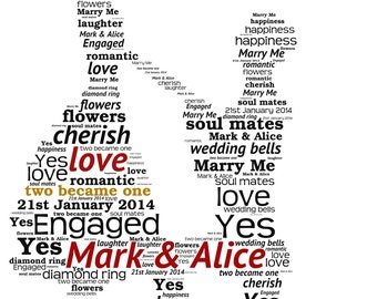 Personalised Word Art - A proposal/couple design - A4 Print or Digital File