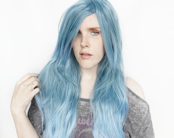 Blue wig | Long Blue wig, Gradient wig | Straight Blue wig, Scene wig | Pastel wig, Cosplay wig | Mountain Stream