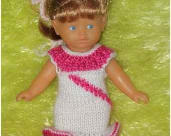 Straight dress, white and pink - bottom rolled hem for mini corolline