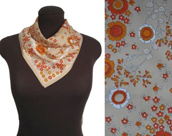 60s Floral Scarf / 1960s Head Scarf / Vintage Floral Neckerchief / 60s Head Square / Orange Flowers Pattern / Vintage Gift