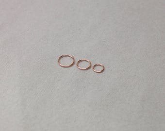 Nose Ring Rose Gold, Nose Hoop, 20g Rose Gold Filled Nose Ring, Thin Pink Gold Nose Hoop, 6mm 8mm 10mm Seamless Ring