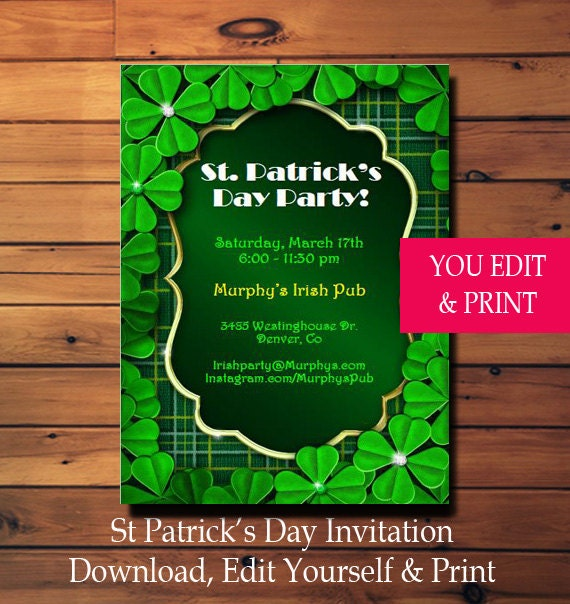 st patricks day invitation st patricks day party invitation