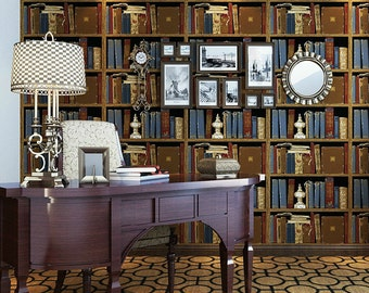 Vintage Faux Library Bookshelf Wallpaper