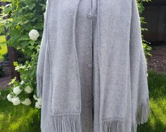 Lined, Front-Buttoned Alpaca Cape