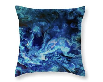 Blue Pillow   Throw Pillow Cover   Abstract Art Pillow   Navy and Baby Blue Toss Pillow   Decorative pillow Abstract   Custom Sizes   Gift