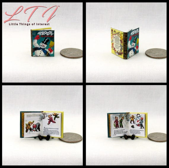 FROSTY The SNOW MAN Illustrated Readable Miniature Book Dollhouse 1:12 Scale Had To Hurry On His Way Magic Hat