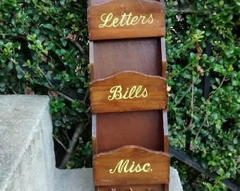 Wooden mail box vintage mail sorter letters and bills mailbox with key hooks