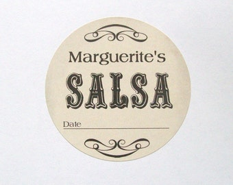 Vintage Custom Kitchen Labels - Canning Labels - SALSA Stickers - Personalized Labels From The Kitchen - You Choose the Size