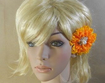 Hair Flower Clip Orange Marigold Pearl and Rhinestone Center