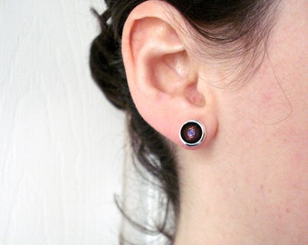 Cat Eye Nebula Galaxy Earrings - Cute Little Silver Petite Outer Space Stud Earrings - Space Jewellery, Astronomy, Universe, Pink and Blue