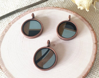 Mondrian Influenced Modern Copper Resin Pendants with Bronze, Brown, Black and Teal Designs (with or without copper chain)
