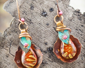 Turkish Delight Earrings in Copper and Red