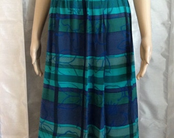 Argenti pure silk 1980s skirt - Like New -Vibrant turquoise and Deep blue - Cannot see thru fabric