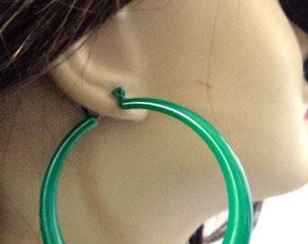 VINTAGE HOOP earrings Green Earrings 2.5 inch Hoop Earrings Tube Hoop Pipe Hoop Earrings