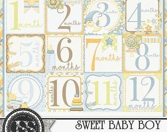 On Sale 50% Sweet Baby Boy Number Journal Cards Digital Scrapbooking Kit