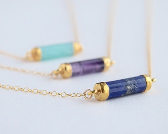 Lapis lazuli tube necklace, Electroplated gold lapis necklace, natural gemstone, Self-acceptance and Hope