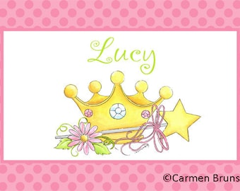 Princess Personalized Placemat,  Personalized Placemat, kids placemat, kitchen placemat, monogram placemat, Girl personalized placemat