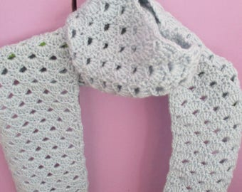 Lacy pale blue scarf - hand crochet