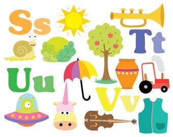 Alphabet Clipart - STUV - Clipart & Vector Set - Instant Download - Personal and Commercial Use