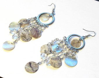 Gypsy earrings ~ Creamy Colored Natural Iridescent Shell Waterfall Chandelier Earrings ~ Shoulder Duster Dangles with Shepard Hook Earwires