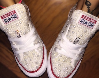 wedding converse - covered in pearls and crystals, pearl converse, rhinestone converse