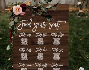 Wedding Seating Chart   Wedding   Wedding Seating Sign   Wedding Reception   Wedding Table Plan   Wedding Seating Plan   Printable   Wooden