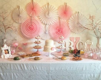 Baby Shower Decorations - 8 Tissue Paper Fans Decor Kit , baby showers, children's birthday parties , bridal showers