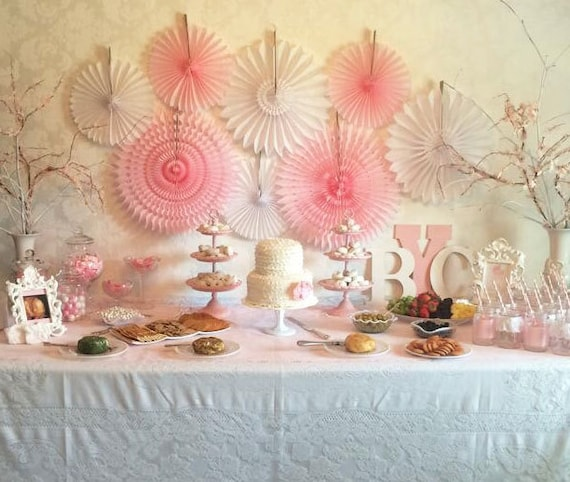 Baby Shower Decorations 8 Tissue Paper Fans Decor Kit Baby