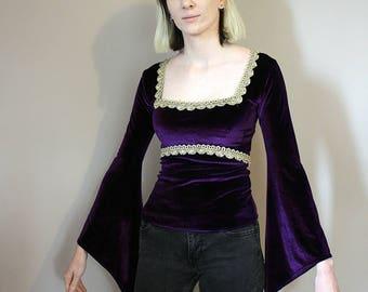 Vintage Purple Velvet Bell Sleeve Blouse/Top/Tunic - Extra Small