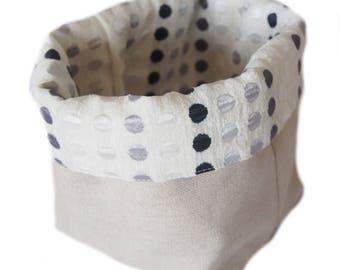 Cotton velvet and linen storage basket
