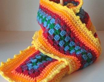 winter scarf, Granny Square Stripe, Sunshine Scarf