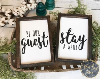Be our guest sign, Wood sign, wooden sign, guest room, farm house decor, guest room decor, framed, wood sign set