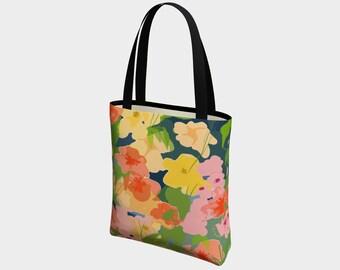 Midnight Garden Tote Bag, Market Bag, Fashion Tote, Beach Bag, Urban Bag, Basic Bag, Floral Tote, Everyday Tote