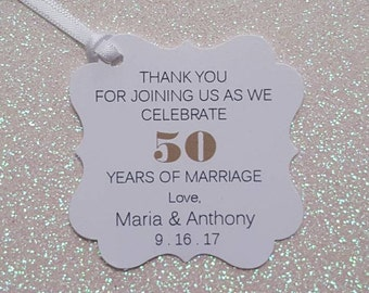 50th WEDDING ANNIVERSARY Favor Tags * 50th Anniversary Thank You Favor Tags *PERSONALIZED *Assembled with White Satin Ribbon