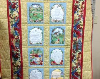 Prayers Child's Quilt. Crib quilt blanket wallhanging baby boy girl child yellow red Christian Lord's Prayer Now I lay me down to sleep 4820