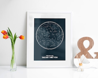 Personalised Constellation 'The Day I Met You' Art Print for Wedding or Anniversary Gift - Digital Download